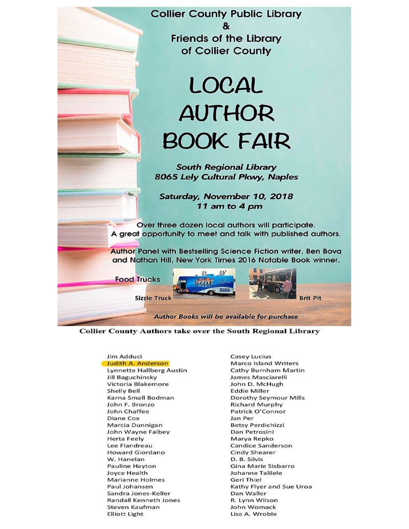Collier County Authors Tak over the South Regional Library - Flyer - JAA
